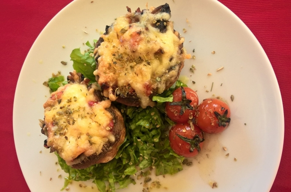 Mushrooms stuffed with bacon and cheese