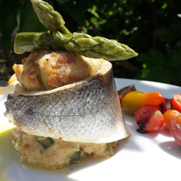 Sea bass fillet with green asparagus and bread mash